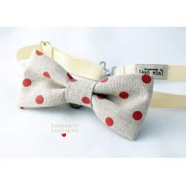 Bow Tie Csokornyakkendő natur piros pöttyös