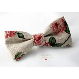 Bow Tie Csokornyakkendő natur piros rózsás