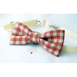 Bow Tie Csokornyakkendő natur piros kockás