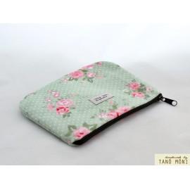 PÉNZTÁRCA halványzöld pöttyös rózsaszín rózsáksl (új)