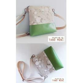 CONFORT BAG Middle natur fehér rózsás zöld műbőrrel (új)