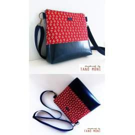CONFORT BAG Middle piros horgony mintás sötétkék műbőrrel (új)