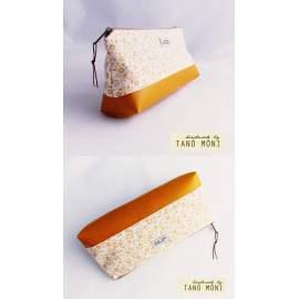 NESZESZER HOSSZÚ sárga virágos mustársárga műbőrrel  (új)