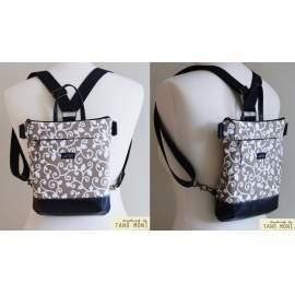 MIDDLE BAG 2 in 1 hátizsák és táska drapp indás türkiz és kék aljjal