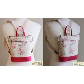 MIDDLE BAG 2 in 1 hátizsák és táska drapp pöttyös rózsás pink és türkiz alj