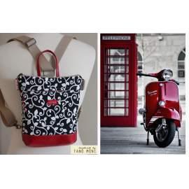 MIDDLE BAG 2 in 1 hátizsák és táska fekete indás piros és fekete aljjal