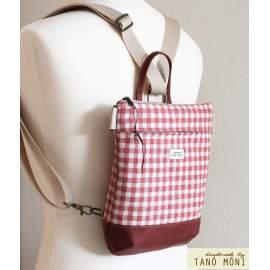 MIDDLE BAG 2 in 1 hátizsák és táska natur piros kockás barna olajzöld alj