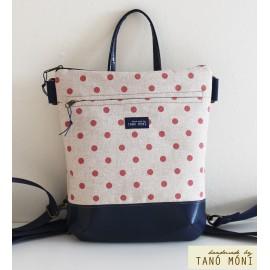 MIDDLE BAG 2 in 1 hátizsák és táska natur piros pöttyös barna és kék aljjal