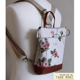 MIDDLE BAG 2 in 1 hátizsák és táska natur piros rózsás olajzöld aljjal