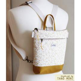 MIDDLE BAG 2 in 1 hátizsák és táska sárga virágos sárga és türkiz aljjal