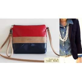 CLUTCH BAG táska sötétkék natur piros