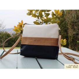 CLUTCH BAG táska sötétkék natur fehér