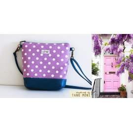 NATURE BAG kistáska lila pöttyös türkiz alj