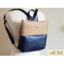 FOREST BAG hátizsák és táska, sötétkék és natur világosbarna (új)