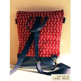 STREET BAG hátizsák és táska piros horgony mintás sötétkék aljjal
