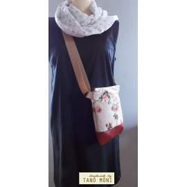 MIDDLE BAG 2 in 1 hátizsák és táska piros kisrózsás olajzöld aljjal