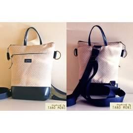 MIDDLE BAG 2 in 1 hátizsák és táska fehér tűpöttyös vilbarna és kék aljjal