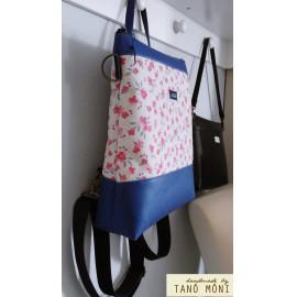 CONFORT BAG hátizsák és táska rózsaszín virágos királykék aljjal (új)