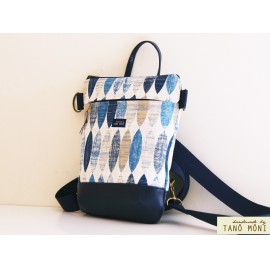 MIDDLE BAG 2 in 1 hátizsák és táska ovál mintás sötétkék aljjal (új)