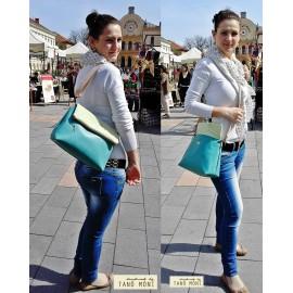 PRETTY BAG táska nagy almazöld pöttyös türkiz műbőrrel (új)
