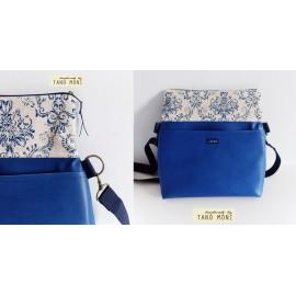 PRETTY BAG táska nagy kék barokk mintás királykék műbőrrel (új)
