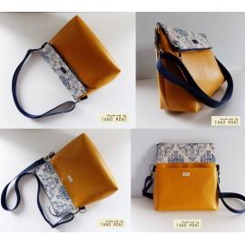 PRETTY BAG táska nagy kék barokk mustársárga műbőrrel (új)