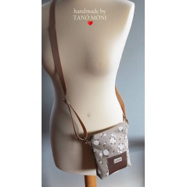 LITTLE BAG textil táska kis fehér rózsás (új)