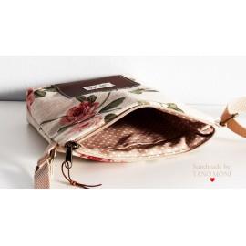 LITTLE BAG textil táska natur piros rózsás (új)
