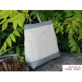 COUNTRY BAG hátizsák és táska fehér kisvirágos szürke (új)