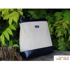 COUNTRY BAG hátizsák és táska fehér tűpöttyös sötétkék (új)
