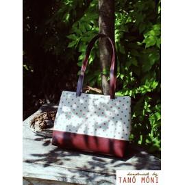 Big Day Bag natur piros pöttyös csokibarna aljjal táska (új)