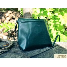 A KIS FEKETE táska olajzöld színben kézi és átvetős (új)