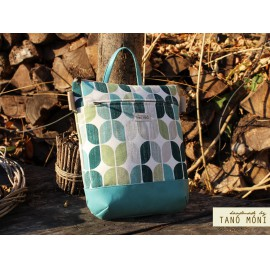 MIDDLE BAG 2 in 1 hátizsák és táska Retro mintás türkiz és zöld aljjal  (új)