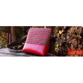 CONFORT BAG Middle skót kockás piros műbőrrel (új)