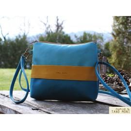 CLUTCH BAG táska Sötéttürkiz sárga türkiz  (új)