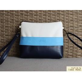 CLUTCH BAG táska sötétkék világoskék fehér (új)