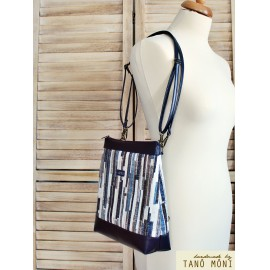 COUNTRY BAG hátizsák és táska kék barna csíkos sötétkék (új)