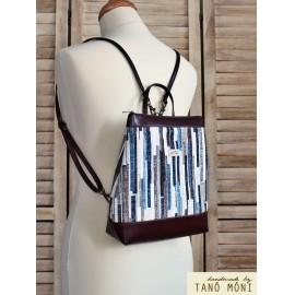 COUNTRY BAG hátizsák és táska kék barna csíkos sötétbarna (új)