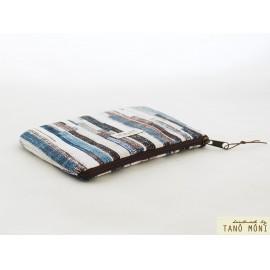 PÉNZTÁRCA kék barna csíkos bézs cimkével (új)