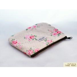 PÉNZTÁRCA drapp pöttyös rózsaszín rózsás (új)