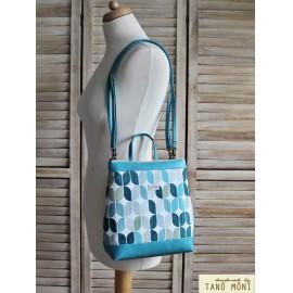 COUNTRY BAG hátizsák és táska retro mintás türkiz (új)