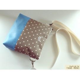 CONFORT BAG Middle drapp pöttyös világoskék műbőrrel (új)