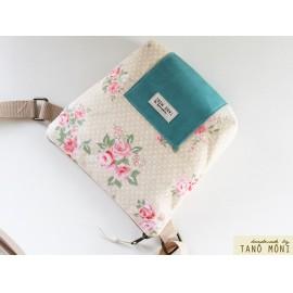LITTLE BAG textil táska drapp pöttyös rózsás (új)