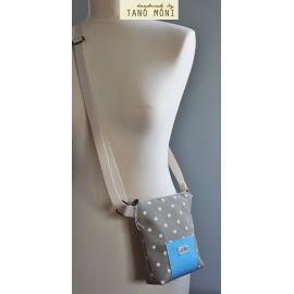 LITTLE BAG textil táska drapp pöttyös világoskék műbőrrel (új)