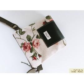 LITTLE BAG textil táska natur piros rózsás olajzöld (új)