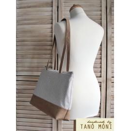 Big Day Bag natur fehér tűpöttyös világosbarna aljjal táska (új)