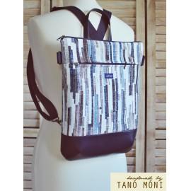 STREET BAG hátizsák és táska kék barna csíkos sötétkék aljjal  (új)