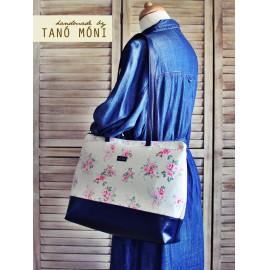 Big Day Bag drapp pöttyös rózsás sötétkék aljjal táska (új)