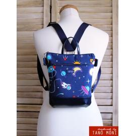 MIDDLE BAG 2 in 1 hátizsák és táska Űrhajós sötétkék aljjal  (új)