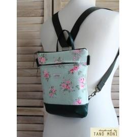 MIDDLE BAG 2 in 1 hátizsák és táska halványzöl pöttyös rózsás olajzöld alj (új)